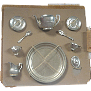 Tiny Pewter Classical Style Tea Set Tied to Original Card Partial Box Tray Teapot Lid ...
