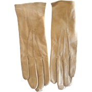 """Fine Pair of Edwardian Carmel Glazed Kid 6.25"""" Gloves Welted Edges and Tops Fancy Wrist S"""