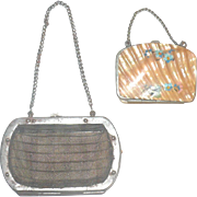 2 Antique Doll Purses Wire Mesh and Mother of Pearl Chain Handles Accordion Compartments