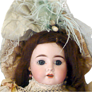 "17"" Late 19th Century French Bisque Head Mystery Doll with Deep Blue Paper Weight Eyes .."