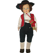 Fine 1930's Lenci 300 Series Boy In South American Gaucho Costume 2 Tags Bright ...