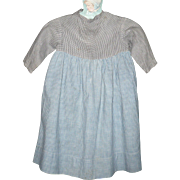 Prim Pennsylvania 2 Tone Linen Girl's Farm Dress Sky Blue Home Spun Check Skirt ...
