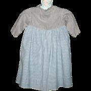 Prim Pennsylvania 2 Tone Linen Girl's Farm Dress Sky Blue Home Spun Check Skirt Black Check Gi