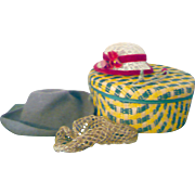 Woven Band Box with Lacy Straw Hat + Brown Felt Hat + Lurex Hair Net for Comp or HP Mary Hoyer