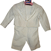 19th Century Boys Ivory Linen 2 Piece Suit Stitched  Blue Stripe Lined Bodice  and  Waist Shor