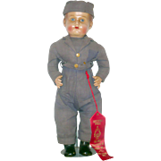 18 Inch  Composition or Pottery Head Boy Doll in Blue Military Fatigues and Over Seas ...