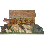 SOLD 19th C American Lithographed Paper Over Wood Noah's Ark with  Odd German Composition Anim