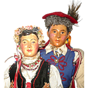 REDUCED 1939 WPA Pair of Composition Polish Portrait Dolls in Krakow Traditional Folk Costume