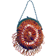 1920-30's Chechoslovakia Crystal and Salmon Beaded Linen Purse with Chain Handle for Larger Do