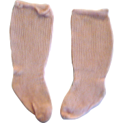 Old Pink Lacy Ribbed Knit Store Stock Doll Stocking with Shaped Foot for Large French or Germa