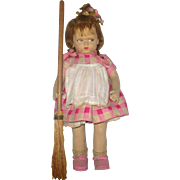 "1920's Lenci 1500 Series 19"" Grumpy Girl with Broom Lenci Cardboard Label 3 Flower ..."