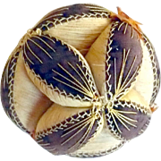 SOLD 19th Century 5 Inch Chester County PA Brown Linen and Cream Silk Puzzle Ball Feathered St