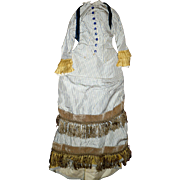 2 Piece Carrie Hall Blue on Ivory Stripe Silk Like Doll Gown Gold Accents Back ...