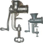 1930s/1940s Chrome Finished Metal CA Toy Meat Grinder and Pewter Finished Doll Size Meat Grind