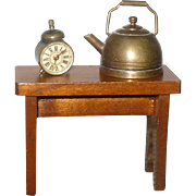 Antique Doll House Copper Water Kettle+Bench with Boot Jack Ends and Silver Tone Alarm Clock