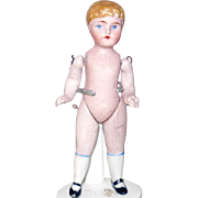 3.75 Inch Wire Jointed  German All Bisque Boy Blond Molded Hair Blue Painted Eyes ...