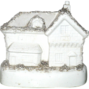 5.5 Inch 19th Century Glazed China Cottage Money Box or Bank Moss Decorated