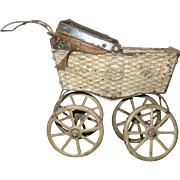 "6"" Antique German Painted Pressed Tin Doll Carriage Project"