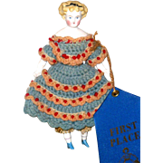 6 Inch 1860's Parian Black Hair Bow Original Body Clothing Parian Limbs Bright Blue Boots  and