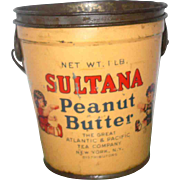 REDUCED Sultana Peanut Butter 1 Pound Pail with Lid