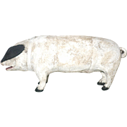 19th Century Toy 9 Inch Oinking White Painted Cloth Covered White Pig with Black Ears and Hoof