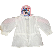 19th Century Hand Stitched White Lawn Doll Blouse with Tucks and Pull Strings Neck Waist