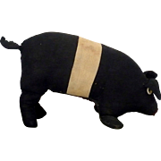 Old Folk Art 13 Inch Black and Cream Stuffed Linen PA Amish Toy Pig with Button Eyes Flipper F