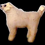 REDUCED 19th Century Amish Ivory Brushed Linen Straw Stuffed Dog Amber Glass Eyes