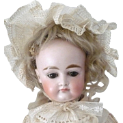 19th Century Kestner Bisque Head 14 Inch Doll Closed Mouth Swivel Neck Sleep Eyes Beautiful Fa