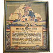 1923 Boy Scout Creed 7.5 Inch by 6.5 Inch Buzza Motto Print Original Frame and Glass