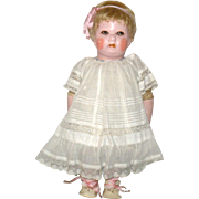 "Scarce 14"" Gertrude Rollinson Painted Cloth Doll Bobbed Blond Hair Wig Big Brown Eyes 191"