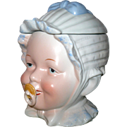 "Vintage  5.5"" China Bonnet Baby Head Jar Pacifier Holder"
