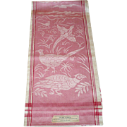 3 Never Used 1930's Irish Linen Damask Towels 31 Inces by 22 Inches Sparkling Rose Toned Pheas