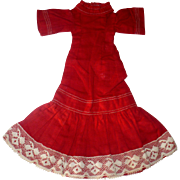 19th Century Hand & Treadle Stitched Turkey Red Linen Dress for Small Slim China or Papier-mac