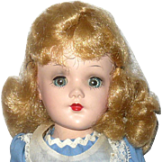 14 Inch HP Marked Mary Hoyer Reading Tag Alice Blue Dress w Pinafore Nice Face Blue SE Gray Ey