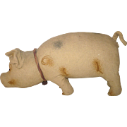 Old Prim 18 Inch Theorem Painted Brushed Linen Pennsylvania Folk Art Toy Stuffed PIg with ...
