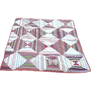 19th Century New Jersey Pieced Crib Quilt Log Cabin Madder Brown and Other Early Linen ...