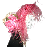 REDUCED Vintage Labeled Ivory Satin Doll Bonnet with Lace Under Brim Bright Pink Plume and ...