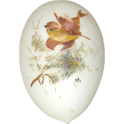 5.25 Inch Blown Glass Victorian Whimsy Easter Egg Satin White with Painted Bird on ...