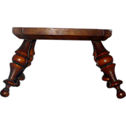 REDUCED 18th C Canted Turned Leg  Miniature Pennsylvania Inlaid Stool