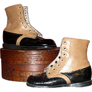 "Old  5.5 "" Boys Saddle & Black Square Toe High Tops"