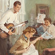 American Art - John GANNAM - Impromptu Concert (1950), Published Original Beer Ad Original Gou