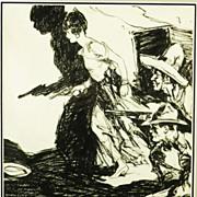 American Art - Lady With a Gun: Vintage Original Western Pulp Illustration Art