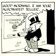 American Art - W.C. Fields: the ATM - 1983 LA Times Original Cartoon Art