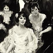 American Art - Debutantes: Vintage Original Illustration Art