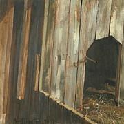 American Art - The Barn Door: Vintage Original Oil Painting
