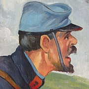 SALE American Art - Civil War Soldier: 1933 Oil on Panel