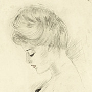 American Art - Beauty and the Rose: Turn-of-the-century Watercolor Portrait