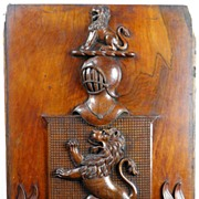 Lewis Family Crest - 19th c. Carved Mahogany Armorial Crest