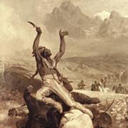 "American Art - Oertel 1883: ""Victorious"", Antique Oil Painting"